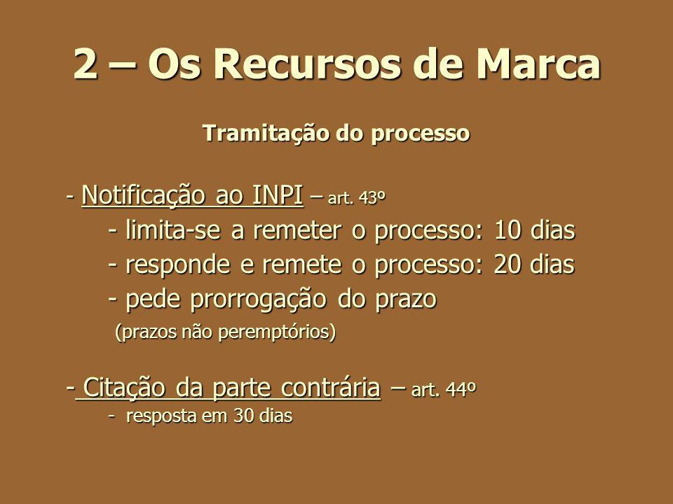 2 – Os Recursos de Marca Tramitação do processo - Notificação ao INPI – art. 43º - limita-se a remeter o processo: 10 dias - responde e remete o proce