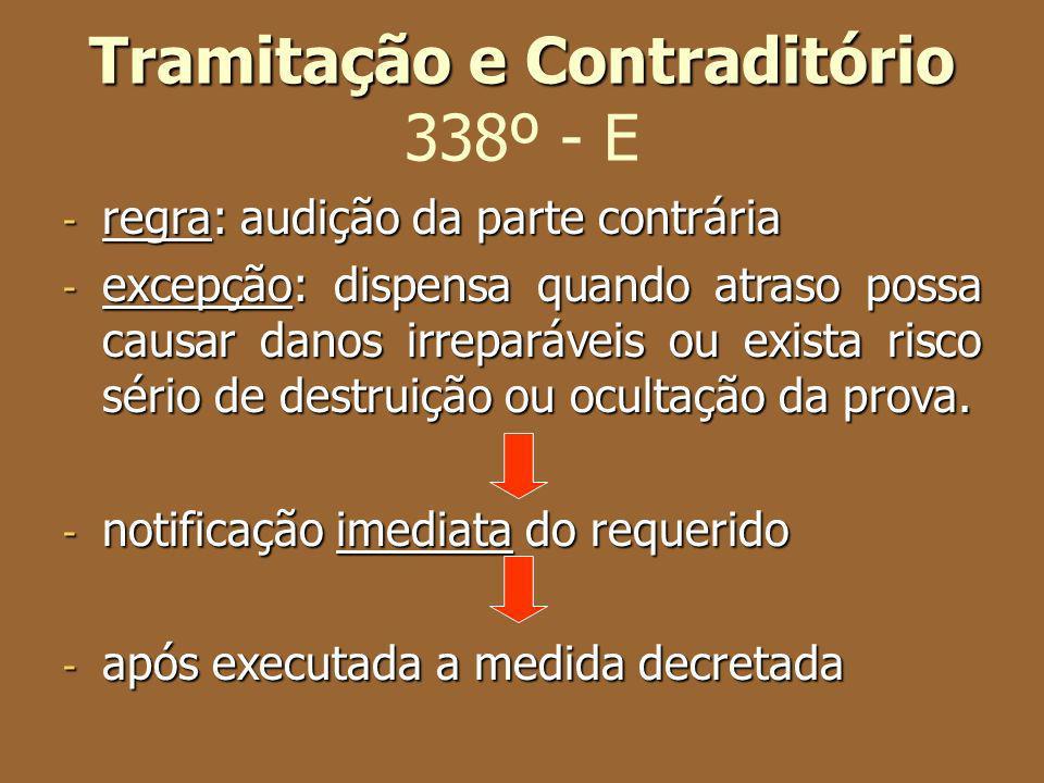 Tramitação e Contraditório Tramitação e Contraditório 338º - E - regra: audição da parte contrária - excepção: dispensa quando atraso possa causar dan
