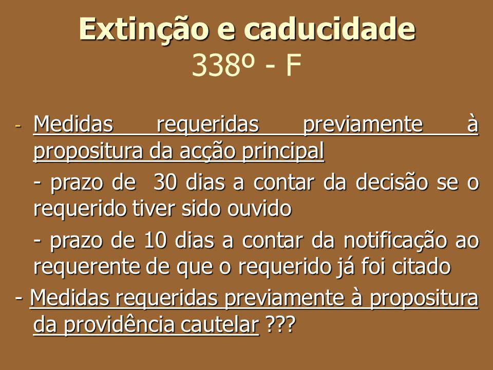 Extinção e caducidade Extinção e caducidade 338º - F - Medidas requeridas previamente à propositura da acção principal - prazo de 30 dias a contar da