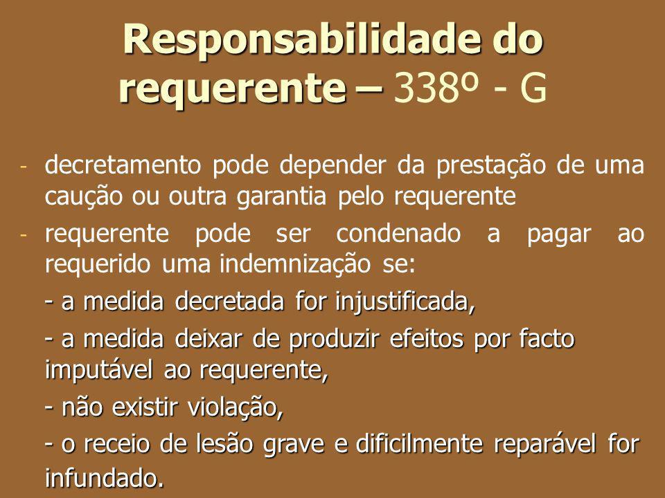 Responsabilidade do requerente – Responsabilidade do requerente – 338º - G - decretamento pode depender da prestação de uma caução ou outra garantia p