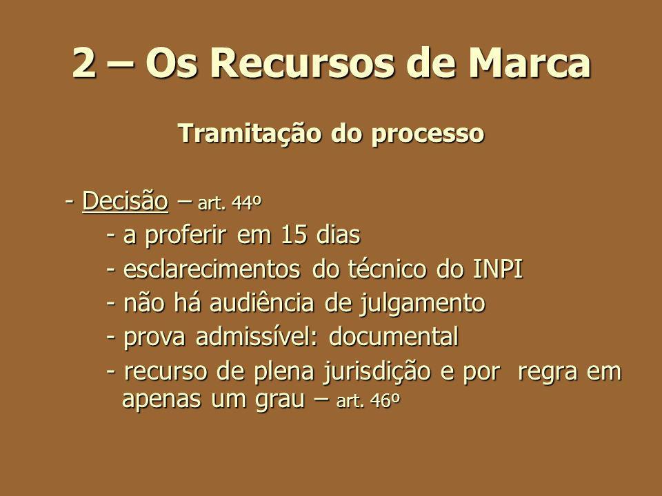 2 – Os Recursos de Marca Tramitação do processo - Decisão – art. 44º - a proferir em 15 dias - esclarecimentos do técnico do INPI - não há audiência d