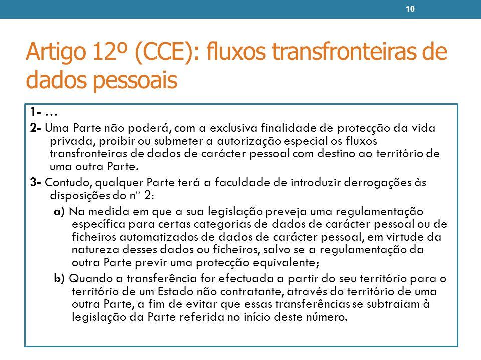 Artigo 12º (CCE): fluxos transfronteiras de dados pessoais 1- … 2- Uma Parte não poderá, com a exclusiva finalidade de protecção da vida privada, proi