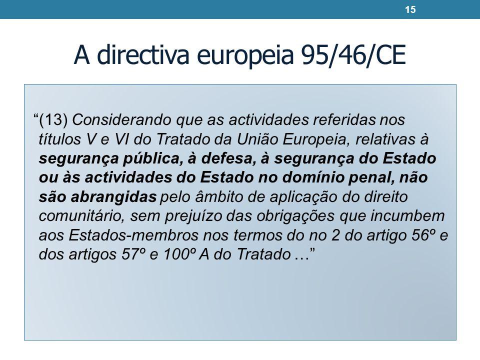 A directiva europeia 95/46/CE (13) Considerando que as actividades referidas nos títulos V e VI do Tratado da União Europeia, relativas à segurança pú
