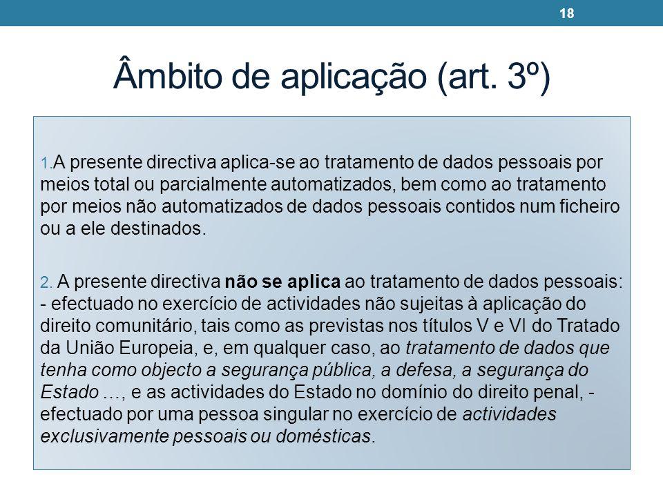 Âmbito de aplicação (art. 3º) 1. A presente directiva aplica-se ao tratamento de dados pessoais por meios total ou parcialmente automatizados, bem com