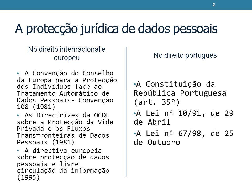 A protecção jurídica de dados pessoais No direito internacional e europeu A Convenção do Conselho da Europa para a Protecção dos Indivíduos face ao Tr