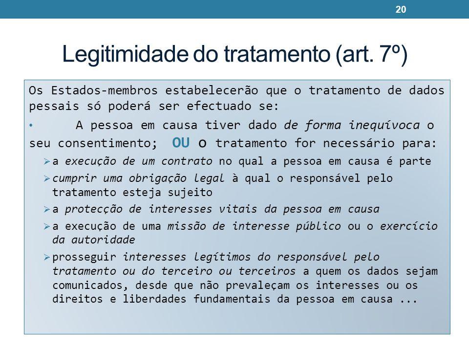 Legitimidade do tratamento (art. 7º) Os Estados-membros estabelecerão que o tratamento de dados pessais só poderá ser efectuado se: A pessoa em causa
