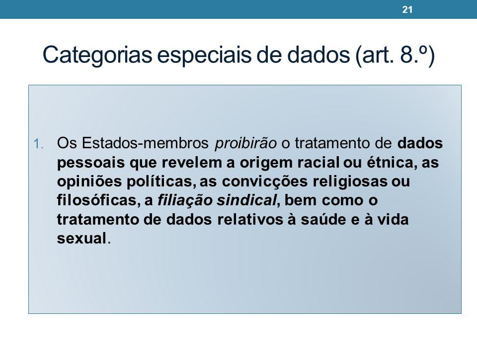 Categorias especiais de dados (art. 8.º) 1. Os Estados-membros proibirão o tratamento de dados pessoais que revelem a origem racial ou étnica, as opin