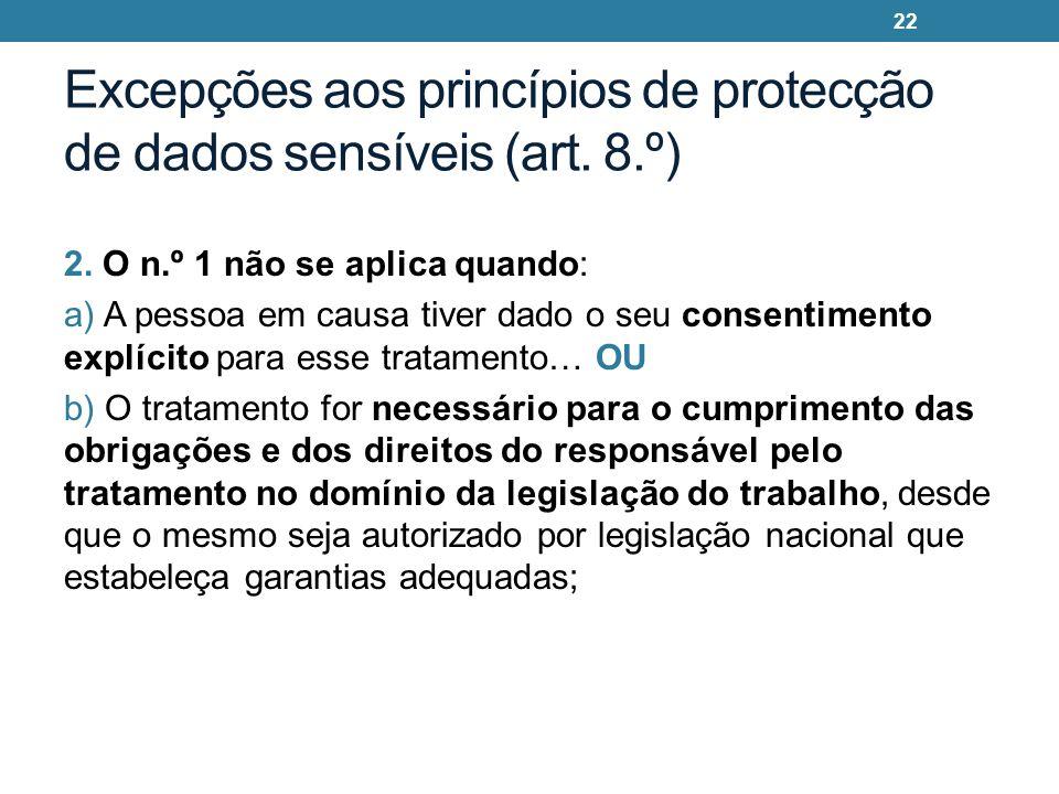 Excepções aos princípios de protecção de dados sensíveis (art. 8.º) 2. O n.º 1 não se aplica quando: a) A pessoa em causa tiver dado o seu consentimen