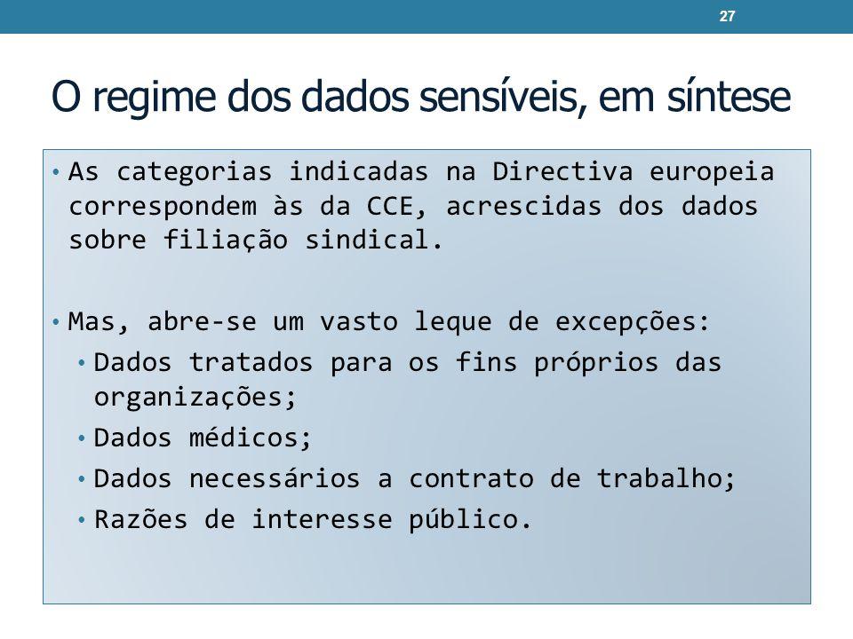 O regime dos dados sensíveis, em síntese As categorias indicadas na Directiva europeia correspondem às da CCE, acrescidas dos dados sobre filiação sin