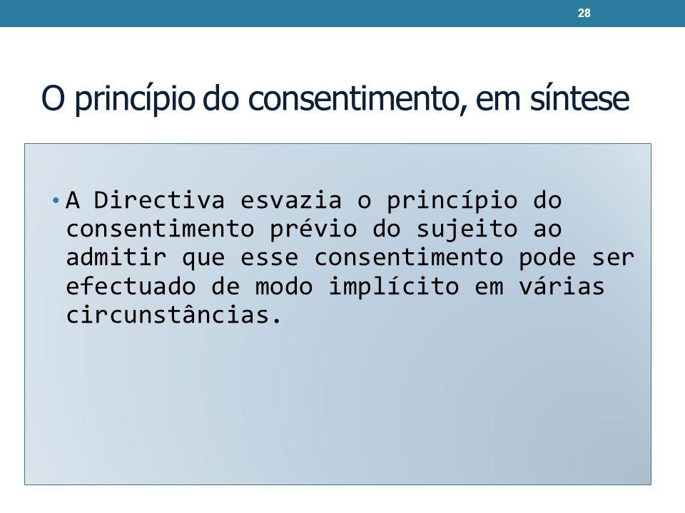 O princípio do consentimento, em síntese A Directiva esvazia o princípio do consentimento prévio do sujeito ao admitir que esse consentimento pode ser