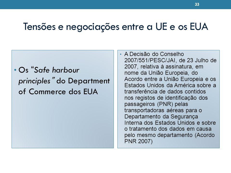 Tensões e negociações entre a UE e os EUA Os Safe harbour principles do Department of Commerce dos EUA A Decisão do Conselho 2007/551/PESC/JAI, de 23