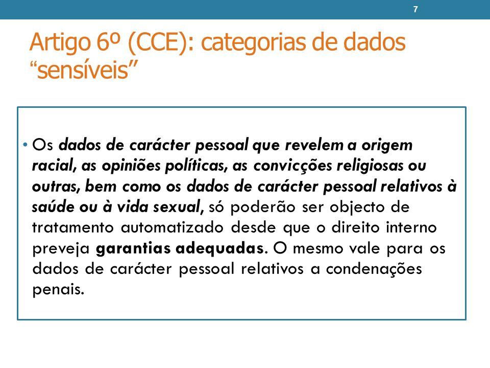 Artigo 6º (CCE): categorias de dadossensíveis Os dados de carácter pessoal que revelem a origem racial, as opiniões políticas, as convicções religiosa