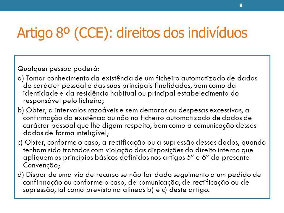 Artigo 8º (CCE): direitos dos indivíduos Qualquer pessoa poderá: a) Tomar conhecimento da existência de um ficheiro automatizado de dados de carácter