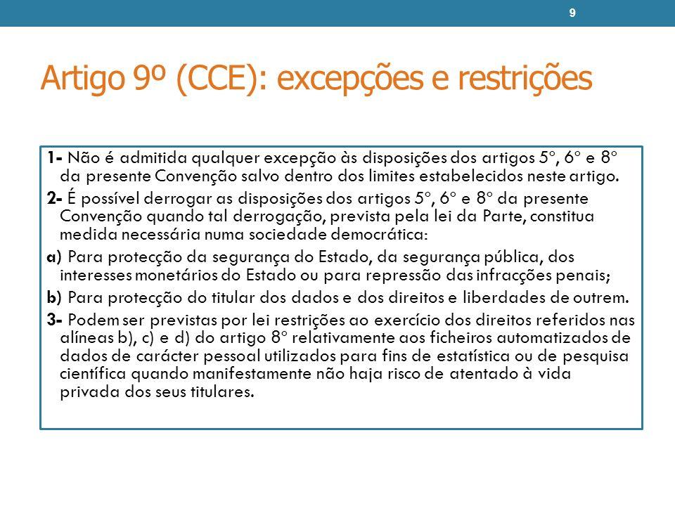 Artigo 12º (CCE): fluxos transfronteiras de dados pessoais 1- … 2- Uma Parte não poderá, com a exclusiva finalidade de protecção da vida privada, proibir ou submeter a autorização especial os fluxos transfronteiras de dados de carácter pessoal com destino ao território de uma outra Parte.