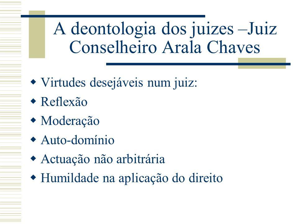 A deontologia dos juizes –Juiz Conselheiro Arala Chaves Virtudes desejáveis num juiz: Reflexão Moderação Auto-domínio Actuação não arbitrária Humildad