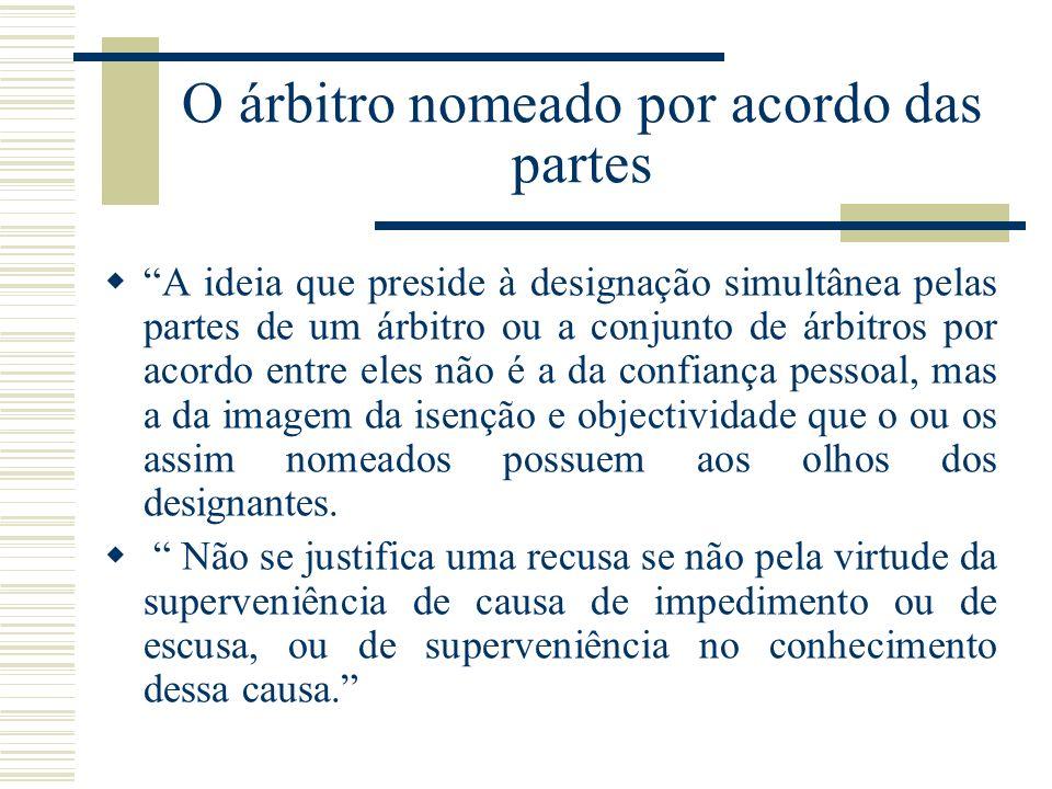 O árbitro nomeado por acordo das partes A ideia que preside à designação simultânea pelas partes de um árbitro ou a conjunto de árbitros por acordo en