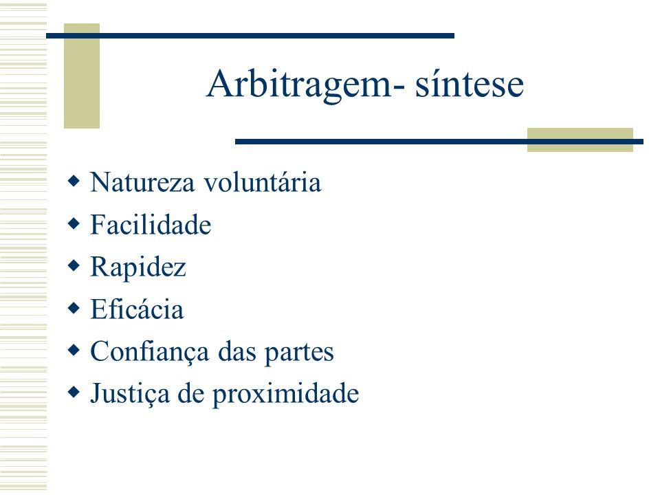 Arbitragem- síntese Natureza voluntária Facilidade Rapidez Eficácia Confiança das partes Justiça de proximidade