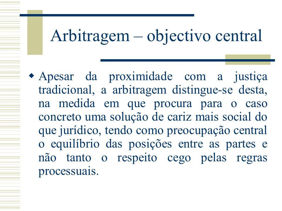 Arbitragem – objectivo central Apesar da proximidade com a justiça tradicional, a arbitragem distingue-se desta, na medida em que procura para o caso