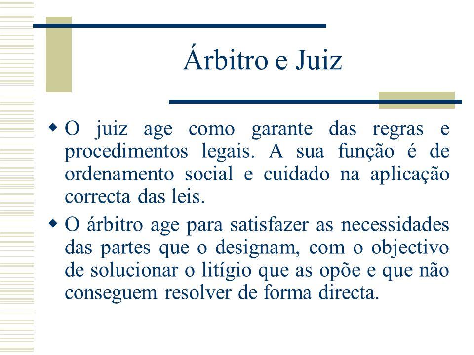 Árbitro e Juiz O juiz age como garante das regras e procedimentos legais. A sua função é de ordenamento social e cuidado na aplicação correcta das lei