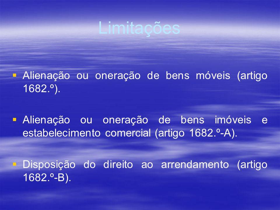 Limitações Alienação ou oneração de bens móveis (artigo 1682.º). Alienação ou oneração de bens imóveis e estabelecimento comercial (artigo 1682.º-A).