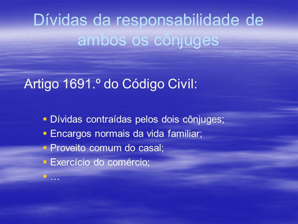 Dívidas da responsabilidade de ambos os cônjuges Artigo 1691.º do Código Civil: Dívidas contraídas pelos dois cônjuges; Encargos normais da vida famil