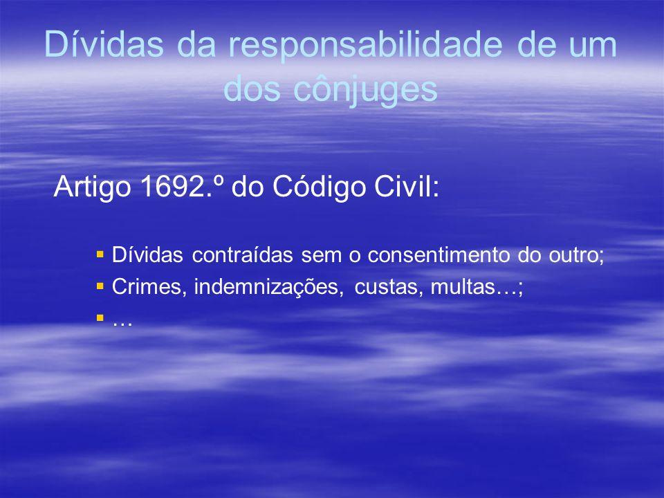 Dívidas da responsabilidade de um dos cônjuges Artigo 1692.º do Código Civil: Dívidas contraídas sem o consentimento do outro; Crimes, indemnizações,