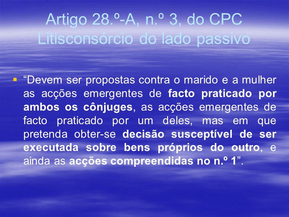 Artigo 28.º-A, n.º 3, do CPC Litisconsórcio do lado passivo Devem ser propostas contra o marido e a mulher as acções emergentes de facto praticado por