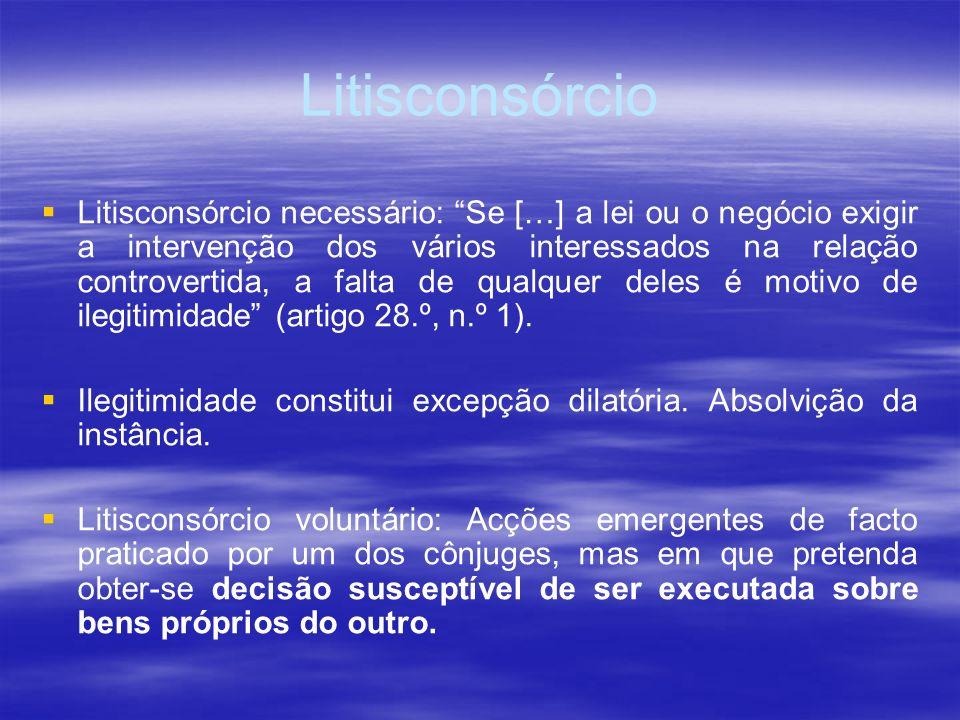 Litisconsórcio Litisconsórcio necessário: Se […] a lei ou o negócio exigir a intervenção dos vários interessados na relação controvertida, a falta de