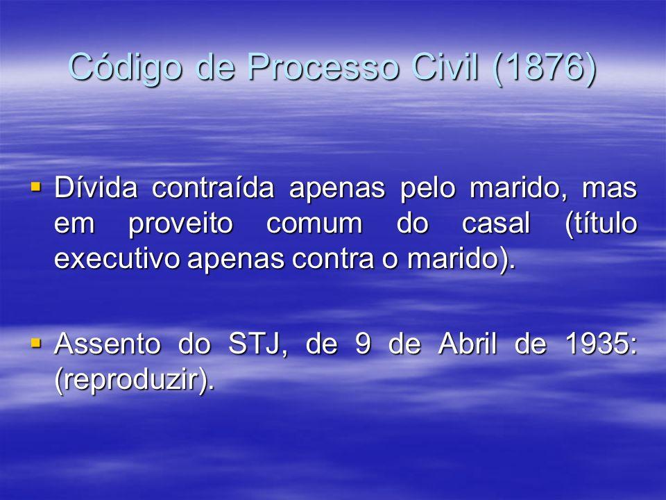 Código de Processo Civil (1876) Dívida contraída apenas pelo marido, mas em proveito comum do casal (título executivo apenas contra o marido). Dívida