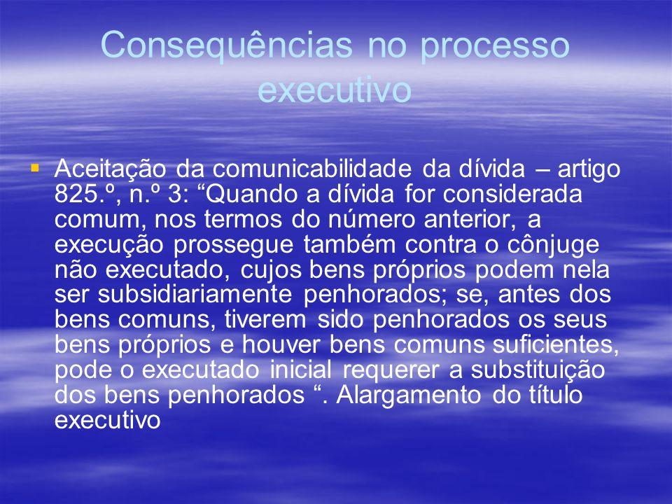 Consequências no processo executivo Aceitação da comunicabilidade da dívida – artigo 825.º, n.º 3: Quando a dívida for considerada comum, nos termos d