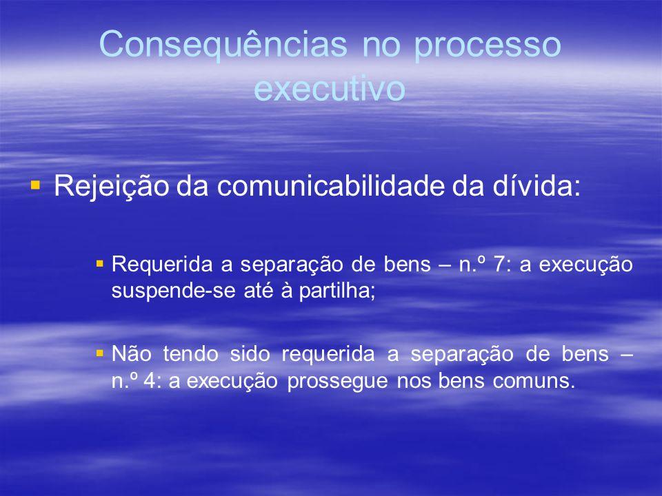 Consequências no processo executivo Rejeição da comunicabilidade da dívida: Requerida a separação de bens – n.º 7: a execução suspende-se até à partil