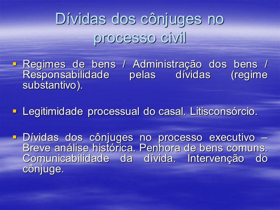 Dívidas dos cônjuges no processo civil Regimes de bens / Administração dos bens / Responsabilidade pelas dívidas (regime substantivo). Regimes de bens