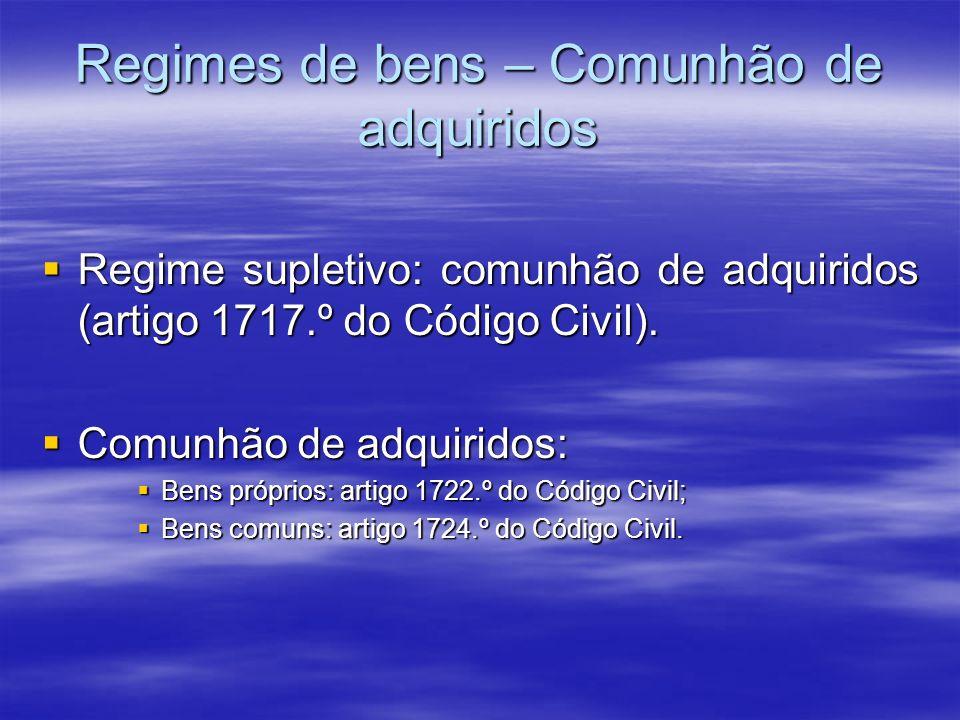 Regimes de bens – Comunhão de adquiridos Regime supletivo: comunhão de adquiridos (artigo 1717.º do Código Civil). Regime supletivo: comunhão de adqui