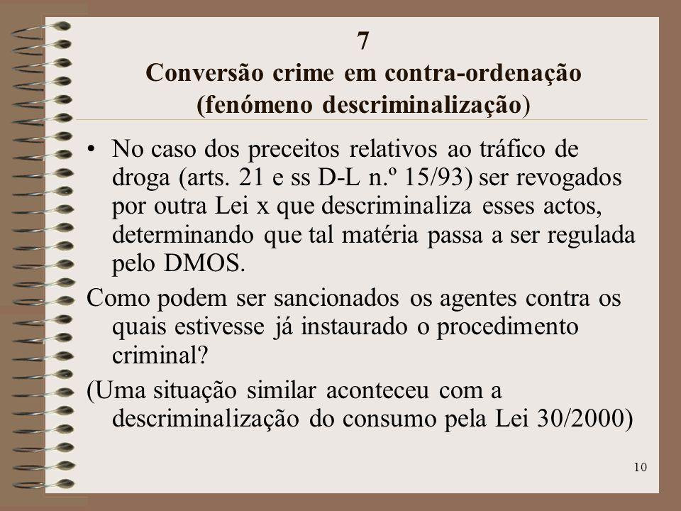 10 7 Conversão crime em contra-ordenação (fenómeno descriminalização) No caso dos preceitos relativos ao tráfico de droga (arts.