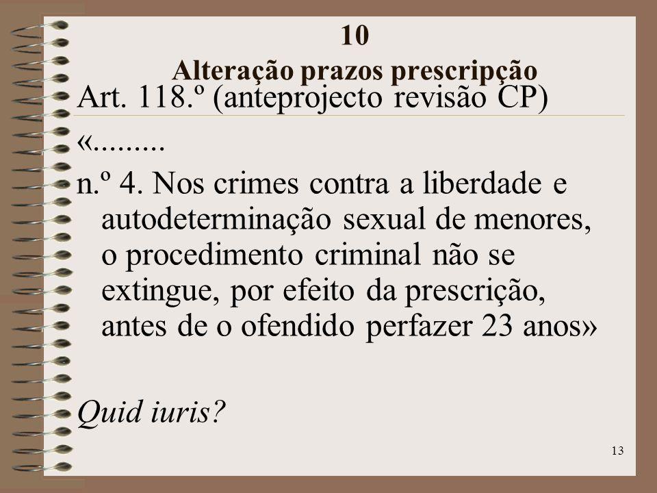 13 10 Alteração prazos prescripção Art. 118.º (anteprojecto revisão CP) «.........