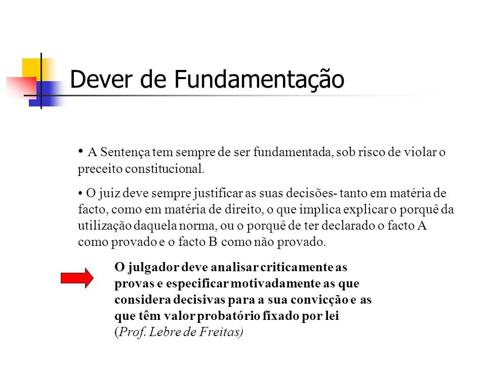 Dever de Fundamentação A Sentença tem sempre de ser fundamentada, sob risco de violar o preceito constitucional.