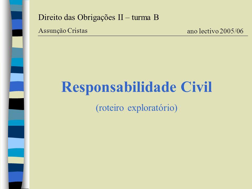 Responsabilidade Civil (roteiro exploratório) Direito das Obrigações II – turma B Assunção Cristas ano lectivo 2005/06