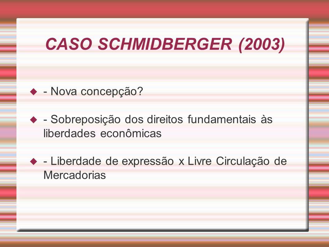 CASO SCHMIDBERGER (2003) - Nova concepção.