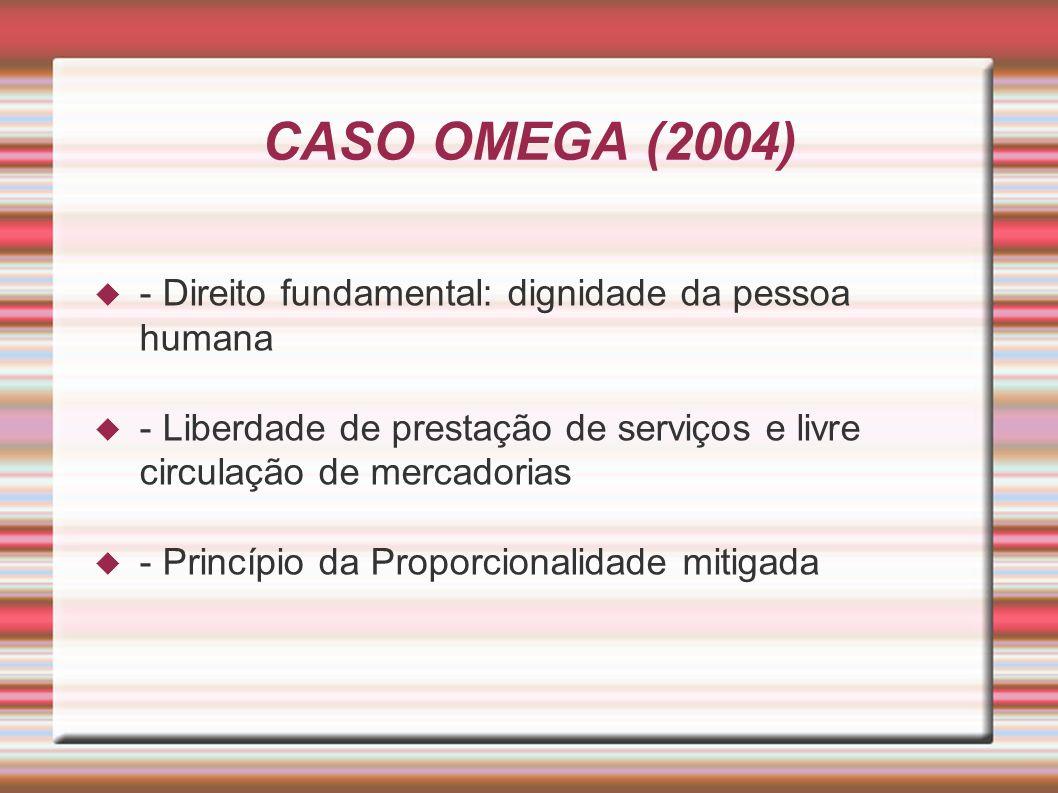 CASO OMEGA (2004) - Direito fundamental: dignidade da pessoa humana - Liberdade de prestação de serviços e livre circulação de mercadorias - Princípio da Proporcionalidade mitigada