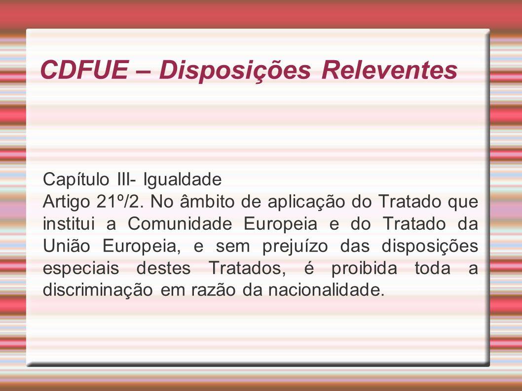 CDFUE – Disposições Releventes Capítulo III- Igualdade Artigo 21º/2.