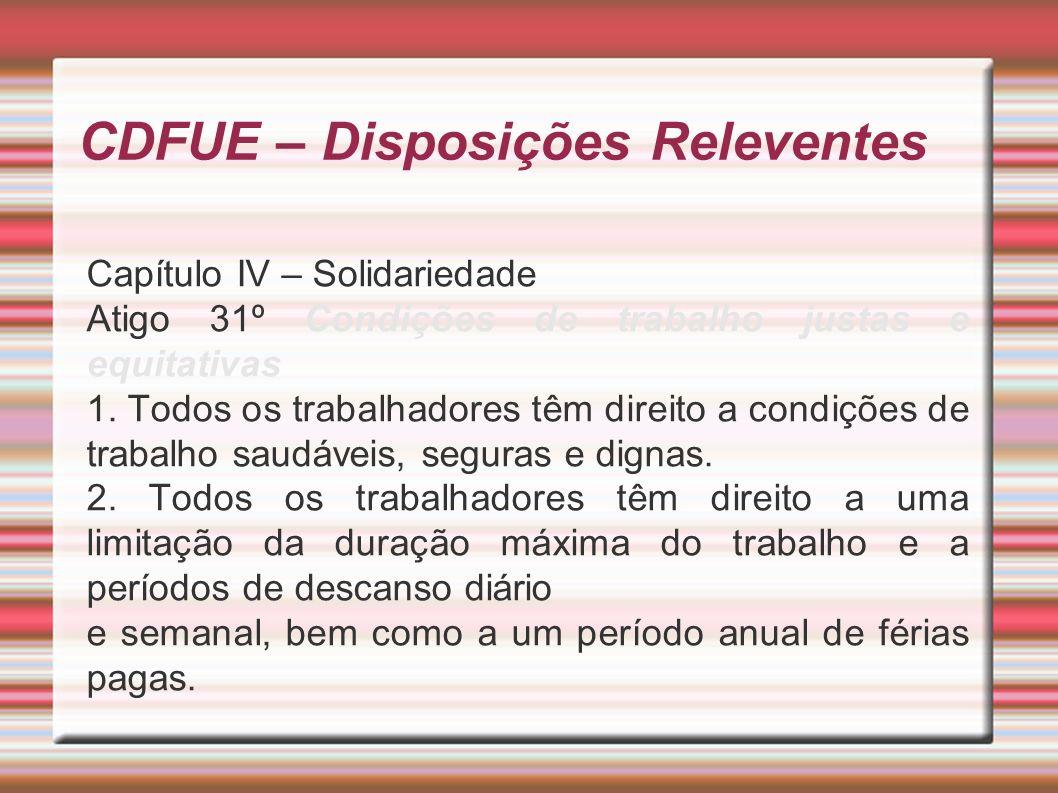 CDFUE – Disposições Releventes Capítulo IV – Solidariedade Atigo 31º Condições de trabalho justas e equitativas 1.