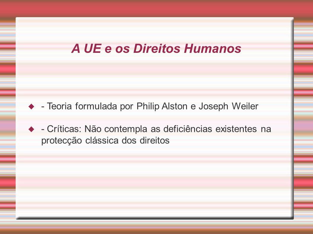 A UE e os Direitos Humanos - Teoria formulada por Philip Alston e Joseph Weiler - Críticas: Não contempla as deficiências existentes na protecção clássica dos direitos