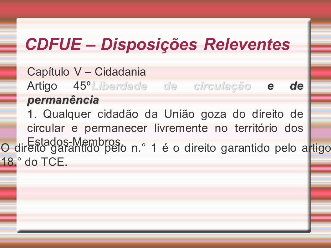 CDFUE – Disposições Releventes Capítulo V – Cidadania Liberdade de circulação e de permanência Artigo 45ºLiberdade de circulação e de permanência 1.