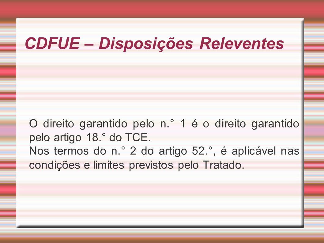 CDFUE – Disposições Releventes O direito garantido pelo n.° 1 é o direito garantido pelo artigo 18.° do TCE.