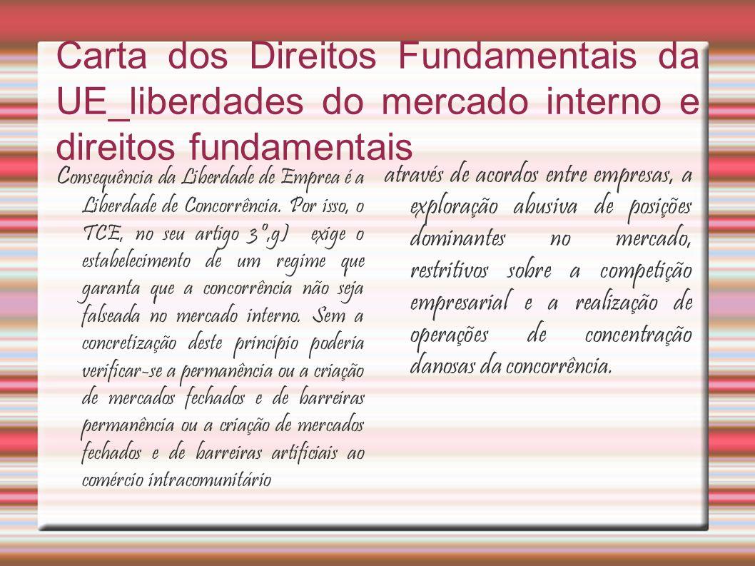 Carta dos Direitos Fundamentais da UE_liberdades do mercado interno e direitos fundamentais C onsequência da Liberdade de Emprea é a Liberdade de Concorrência.