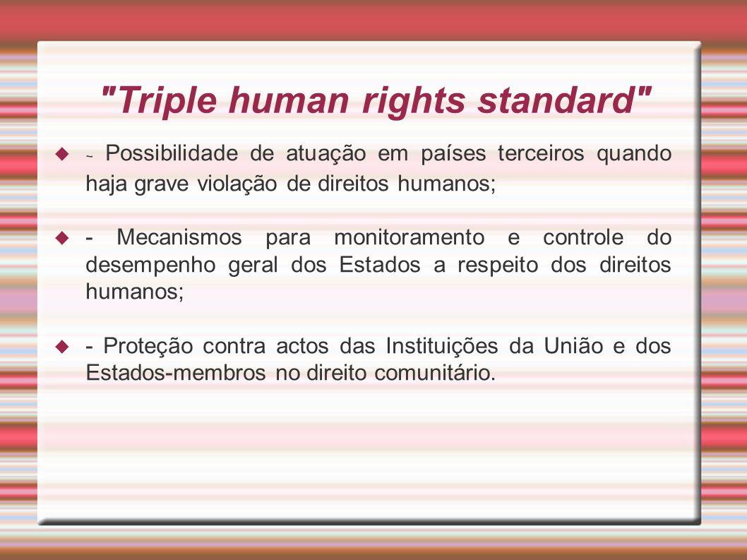 Triple human rights standard - Possibilidade de atuação em países terceiros quando haja grave violação de direitos humanos; - Mecanismos para monitoramento e controle do desempenho geral dos Estados a respeito dos direitos humanos; - Proteção contra actos das Instituições da União e dos Estados-membros no direito comunitário.