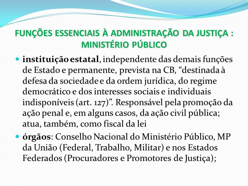 FUNÇÕES ESSENCIAIS À ADMINISTRAÇÃO DA JUSTIÇA : MINISTÉRIO PÚBLICO instituição estatal, independente das demais funções de Estado e permanente, previs