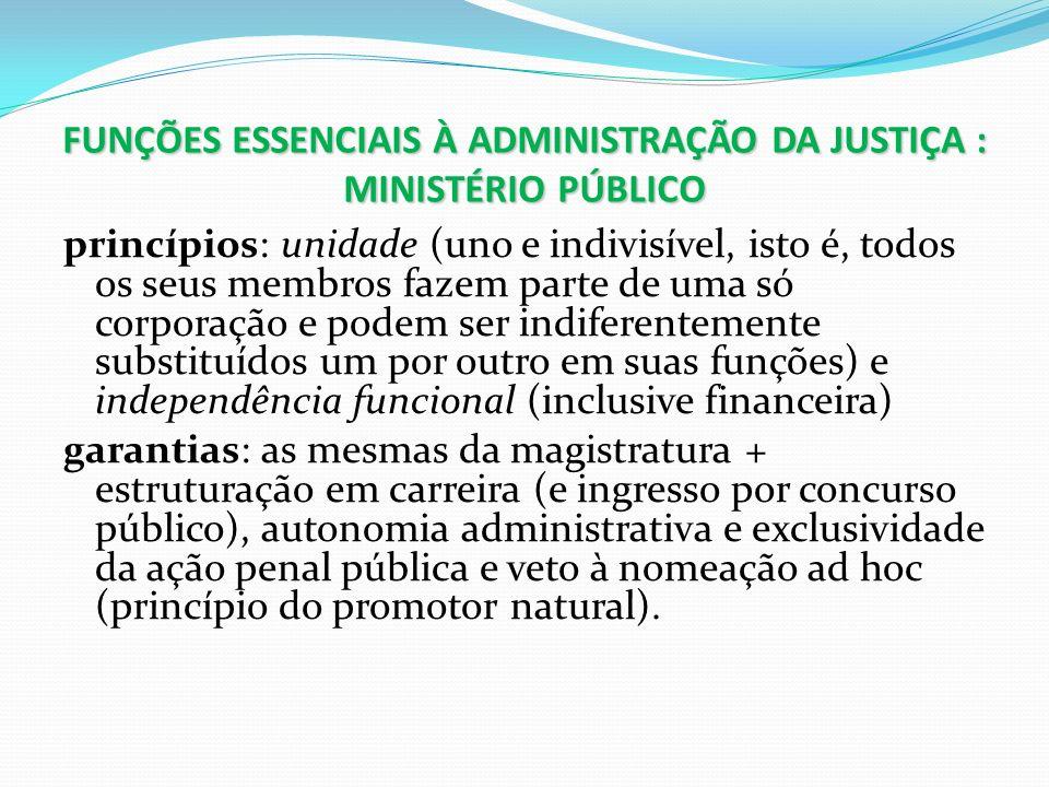 FUNÇÕES ESSENCIAIS À ADMINISTRAÇÃO DA JUSTIÇA : MINISTÉRIO PÚBLICO princípios: unidade (uno e indivisível, isto é, todos os seus membros fazem parte d