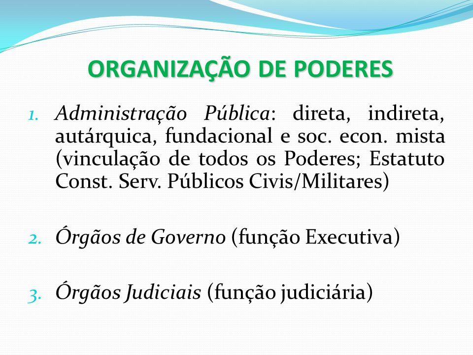 ORGANIZAÇÃO DE PODERES 1. Administração Pública: direta, indireta, autárquica, fundacional e soc. econ. mista (vinculação de todos os Poderes; Estatut