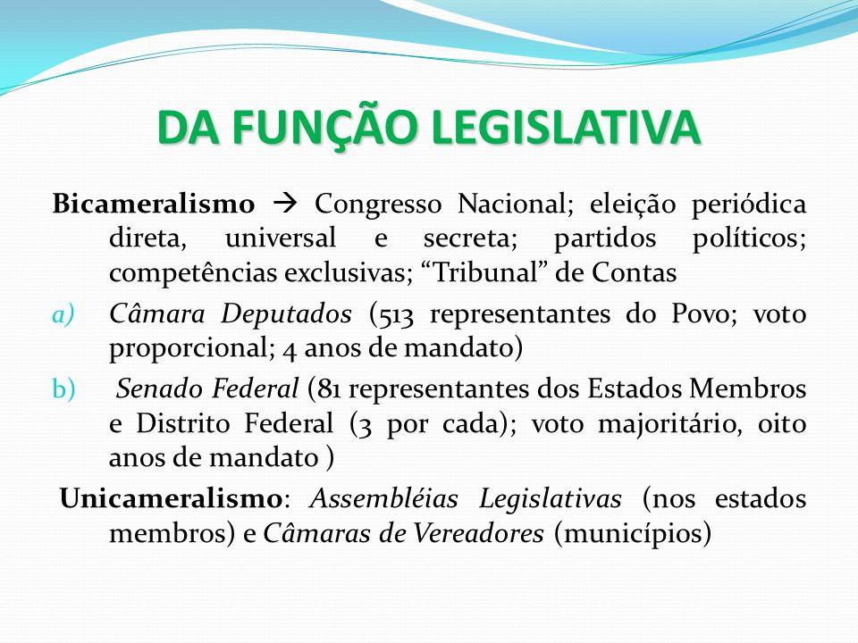 DA FUNÇÃO LEGISLATIVA Bicameralismo Congresso Nacional; eleição periódica direta, universal e secreta; partidos políticos; competências exclusivas; Tr